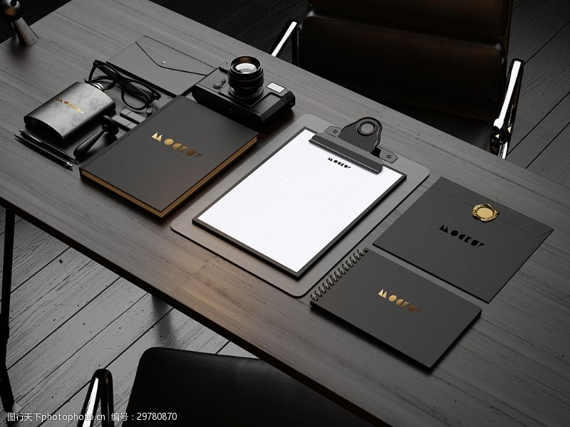 黑金奢華高貴商標LOGO桌面VI樣機展示