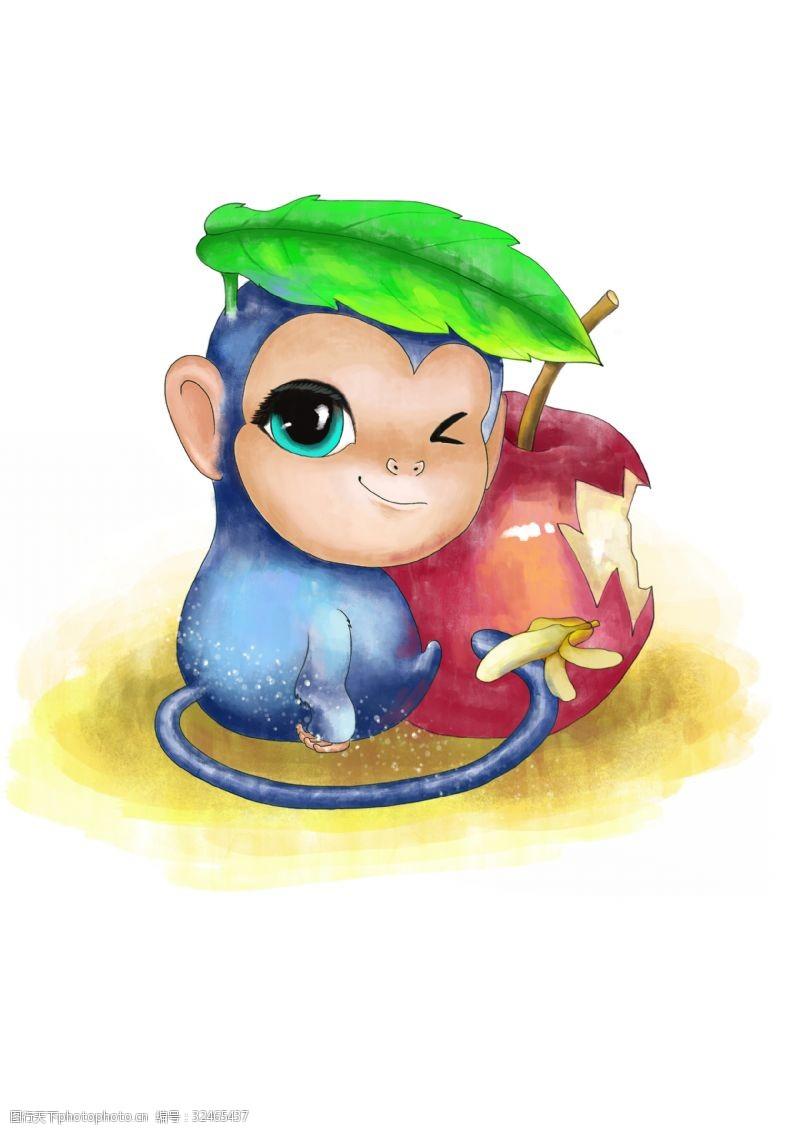 卡通动物漫画动物插画卡通动物小猴子
