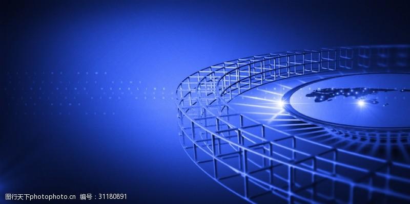 网络科技展板唯美蓝色网络科技背景展板