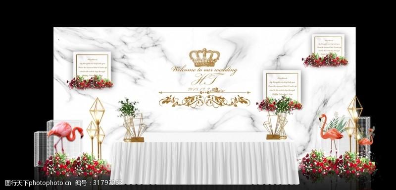 白色大理石火烈鳥主題婚禮簽到區