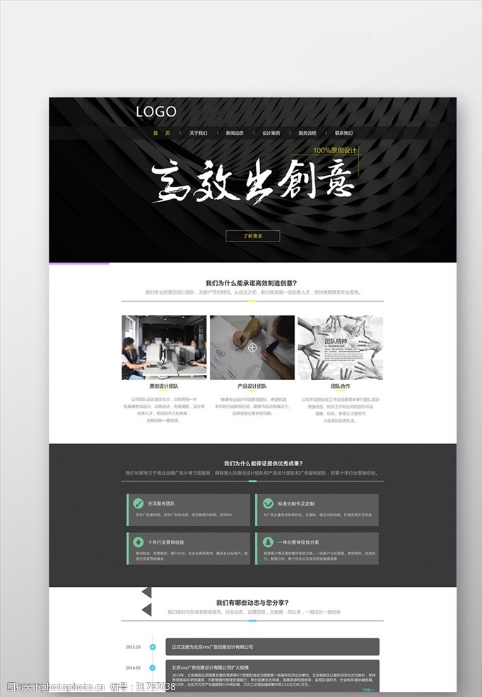 暗色系高端設計網頁通用網站界面