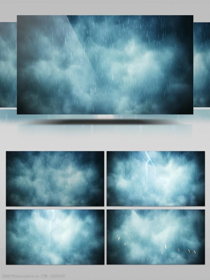 俯视图河面雨滴下雨视频素材