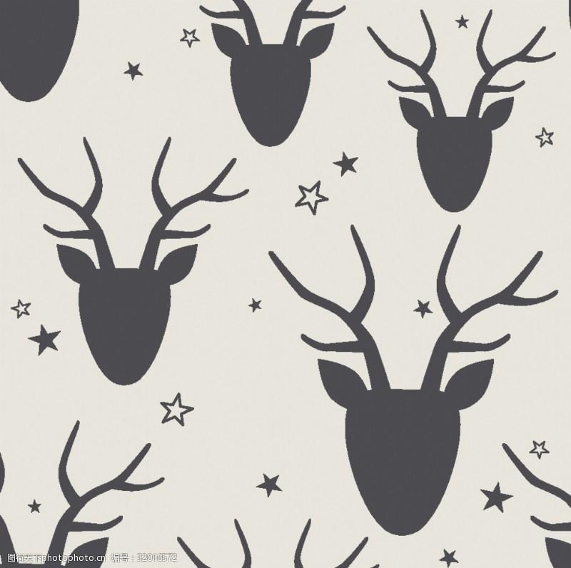 鹿角鹿头四方连续图
