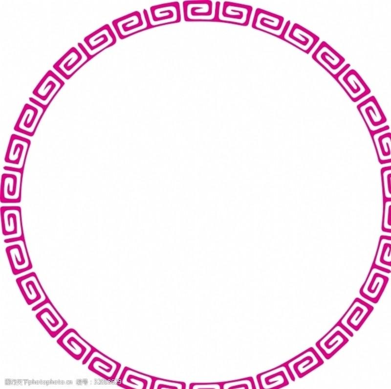 圆边框回形纹纹路