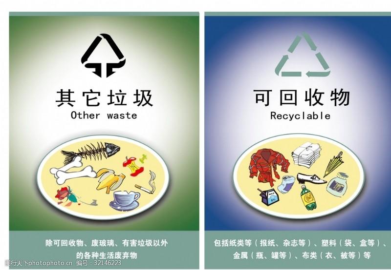 可回收、其他垃圾、不可回收