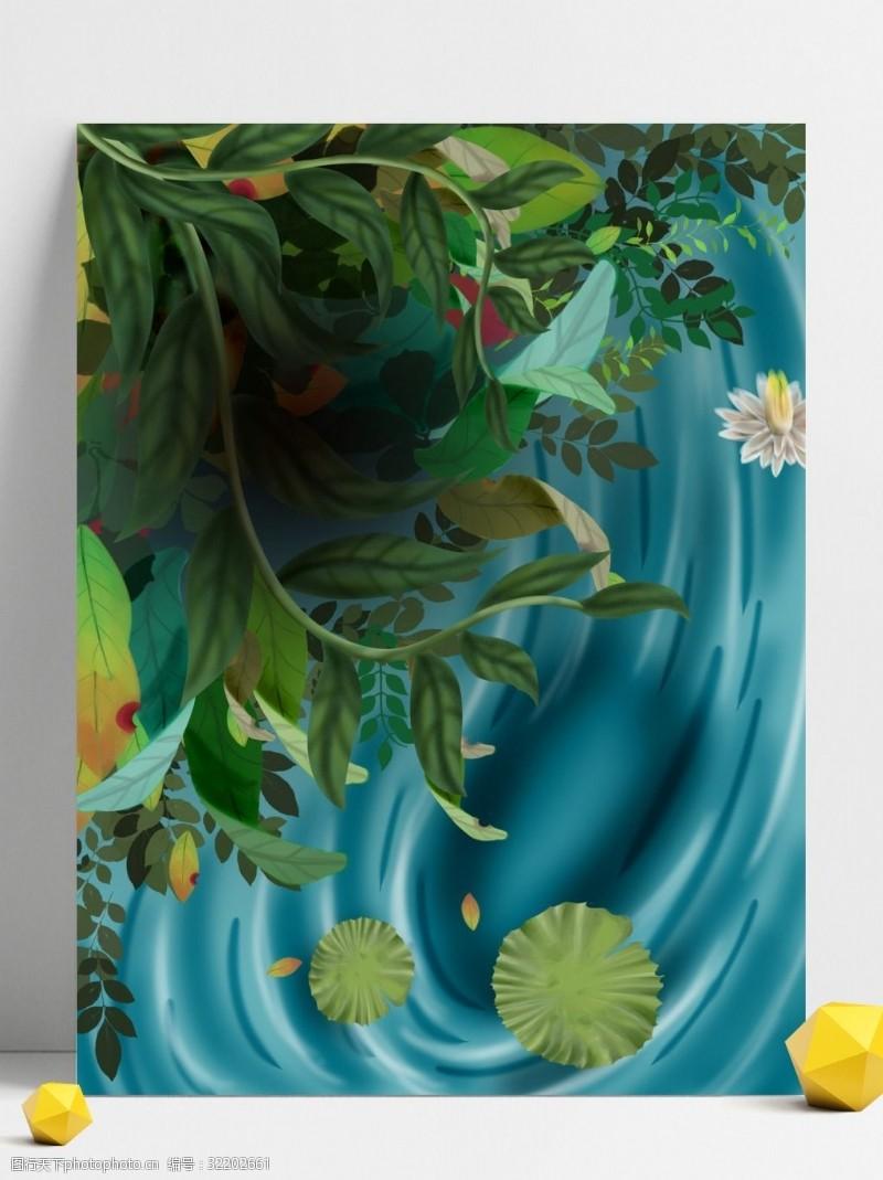 手绘春季主题背景设计