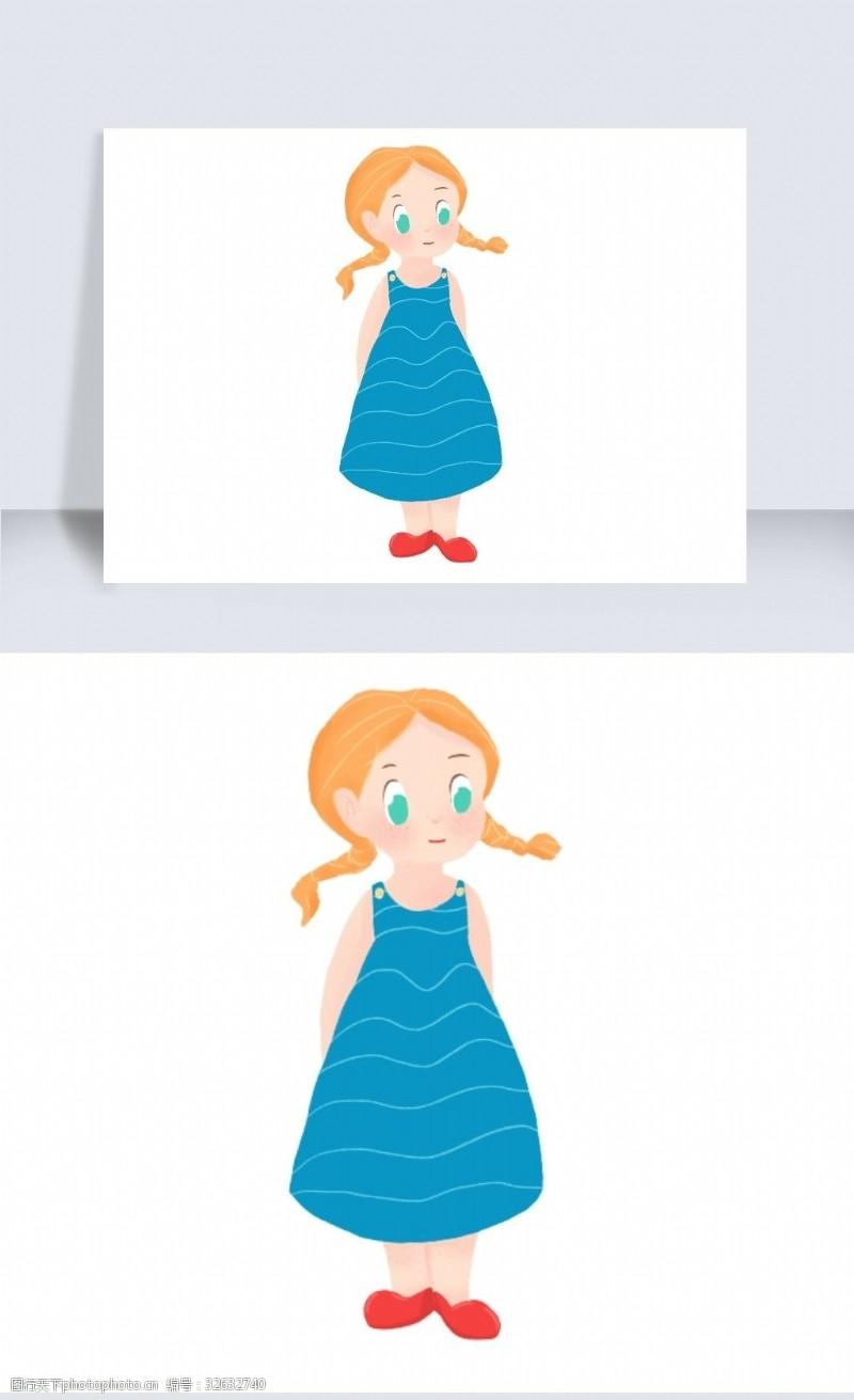 2019年可愛女孩兒洋娃娃兒童節插畫