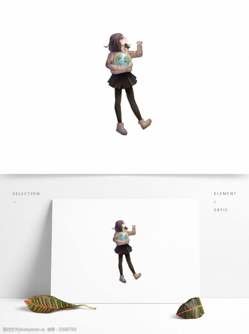 原創環境污染口罩女孩元素設計