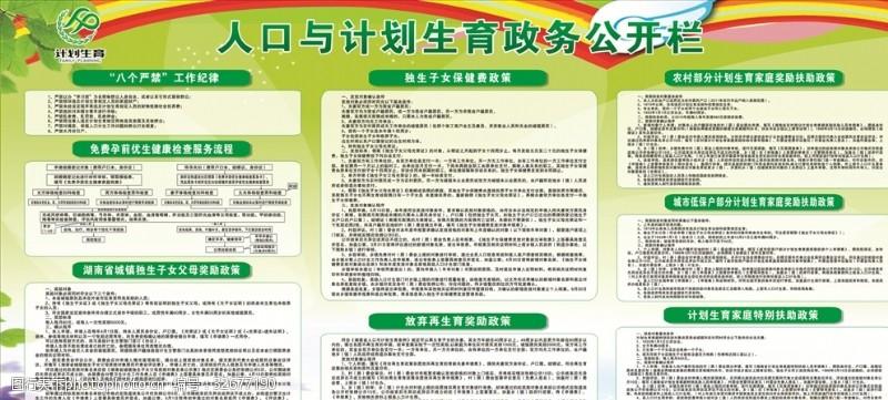 计划生育宣传栏人口与计划生育政务公开栏