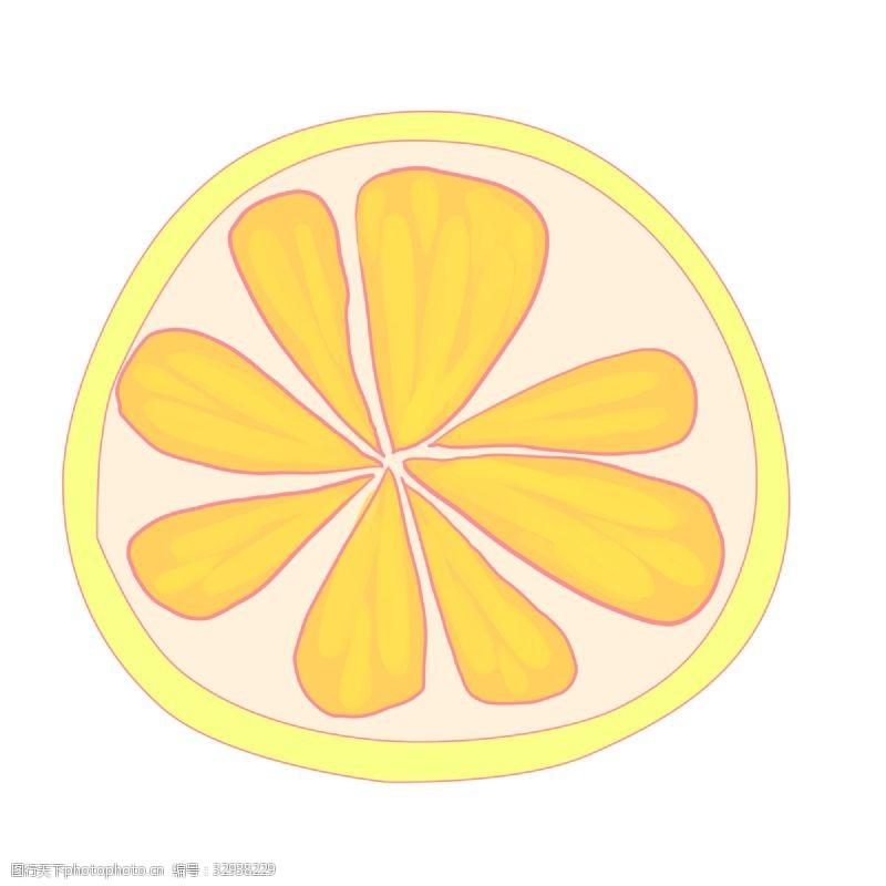卡通柠檬片水果插图