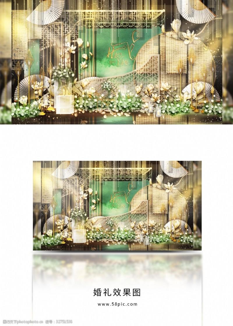 新中式婚禮合影區設計留影區設計中式婚禮