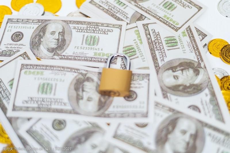 钞票锁头金币高清金融背景