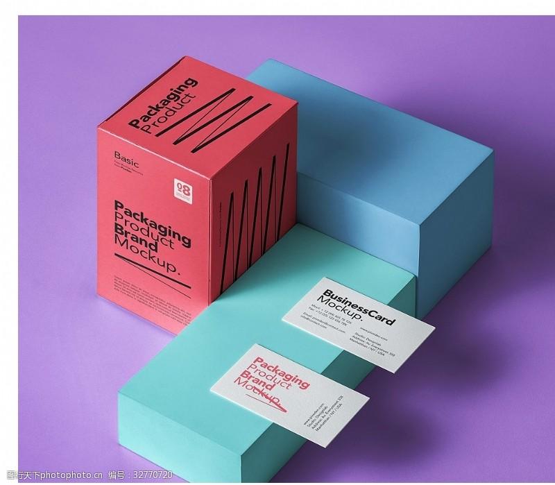 名片樣機渲染模型的幾個盒子和名片樣機