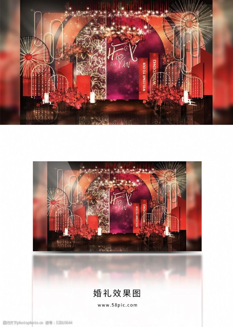 大气红色合影区婚礼效果图留影区设计图