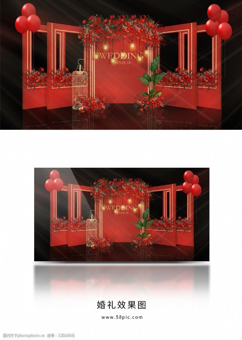 红色复古吊灯婚礼留影区