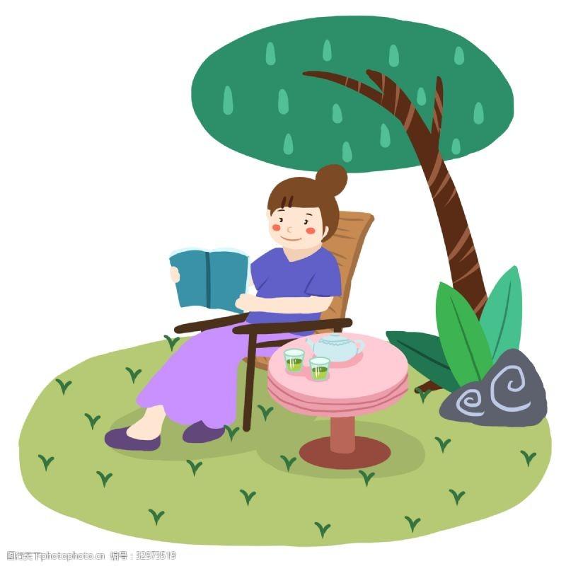 夏天綠色扁平風元素喝下午茶看書