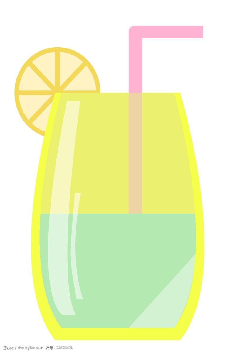 绿色卡通柠檬汁