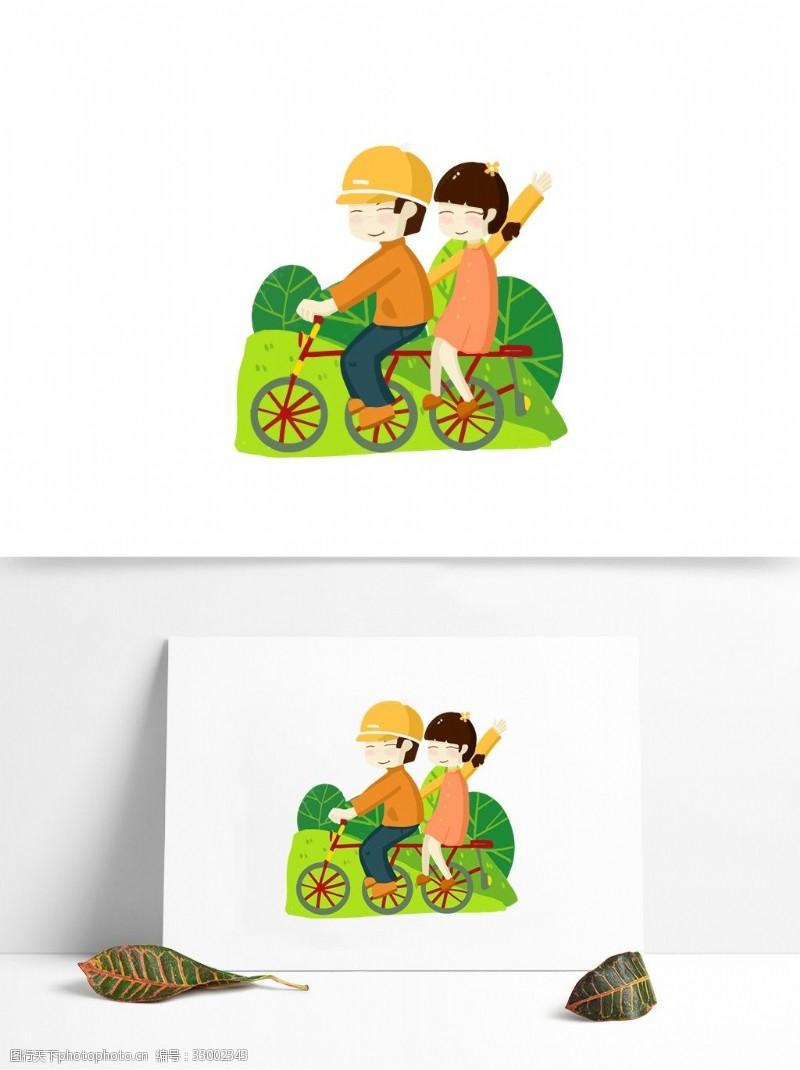 原創手繪細小情侶騎自行車游玩