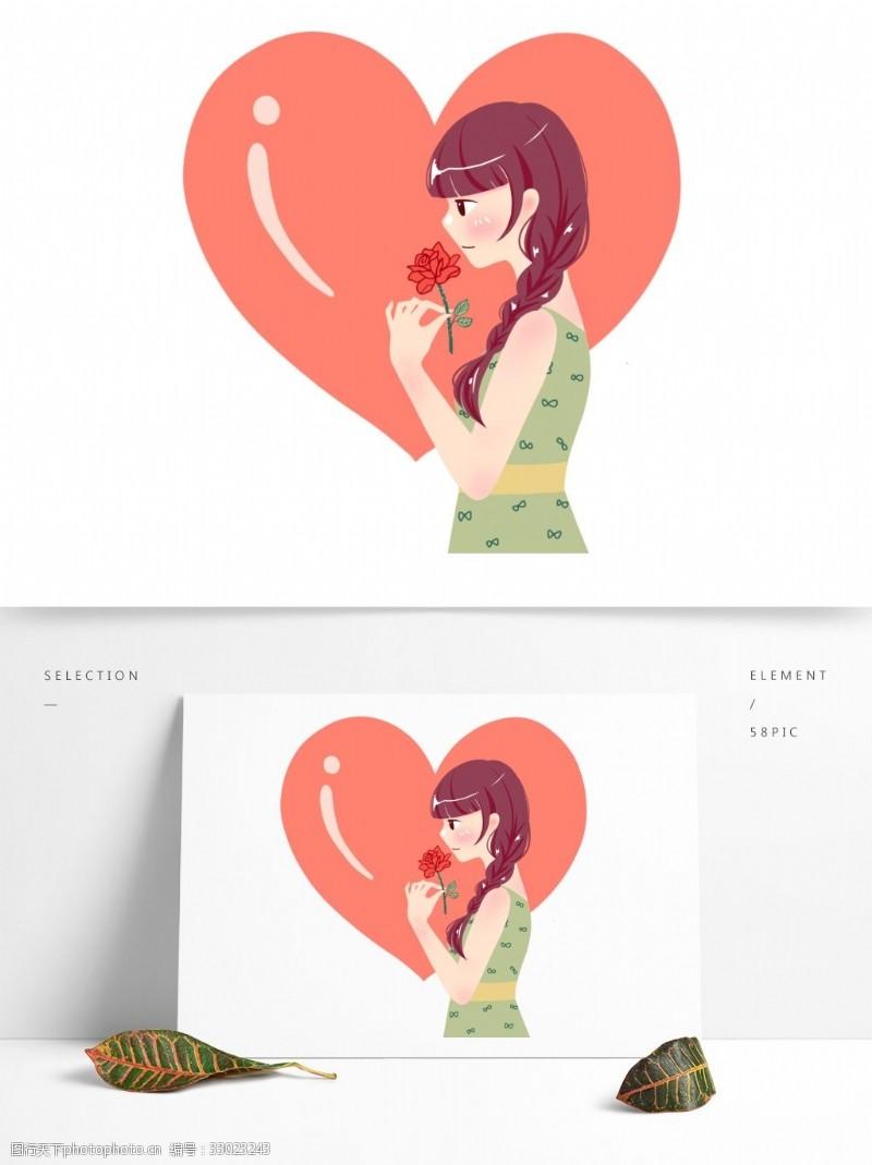手持玫瑰戀愛女孩