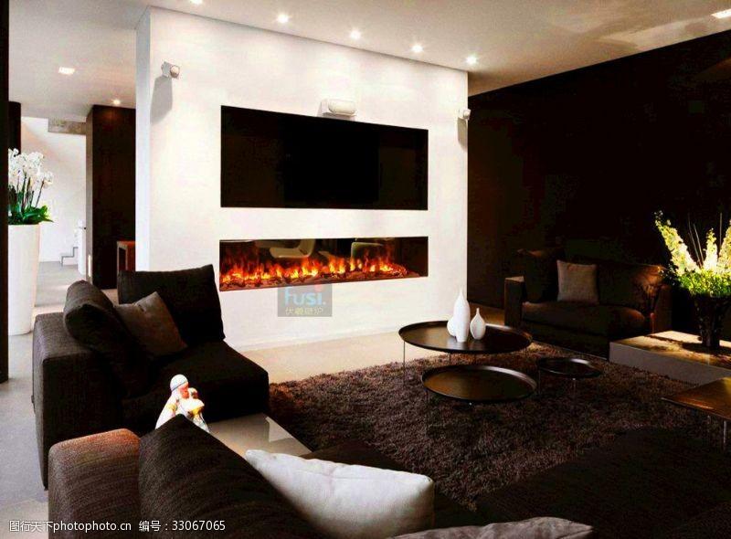 售樓處樣板客廳裝飾伏羲霧化壁爐