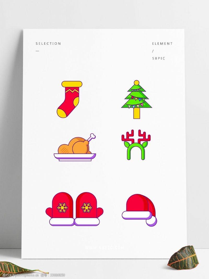 襪子圣誕樹火雞帽子馴鹿手套圣誕帽矢量圖標