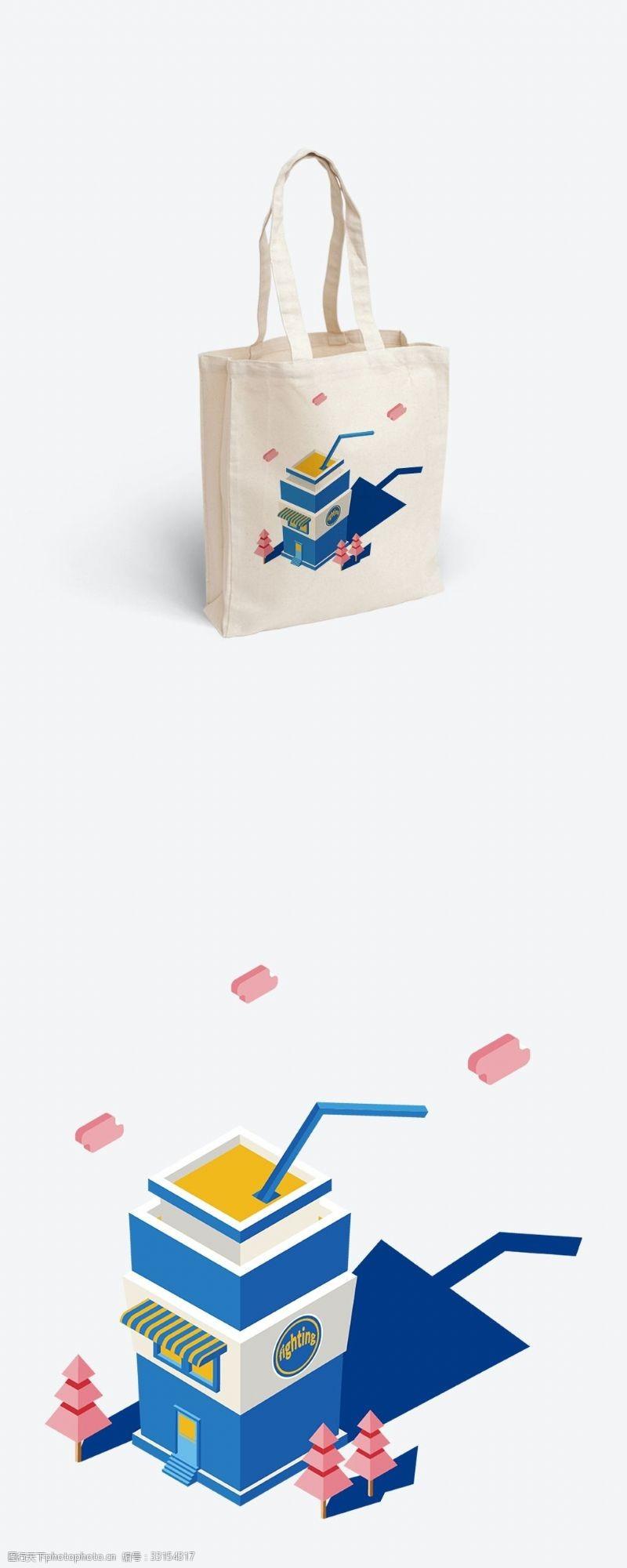 原创矢量2.5D插图勇士可乐杯帆布袋插画