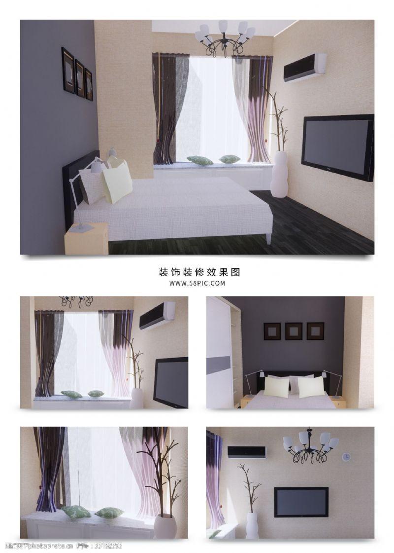 現代簡約歐式家裝臥室效果圖