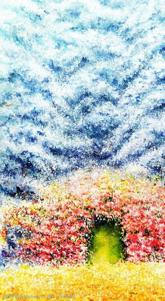 等待闪闪发光的春天树木插图