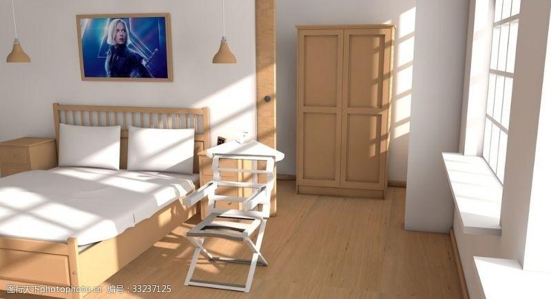 c4d臥室室內設計渲染圖