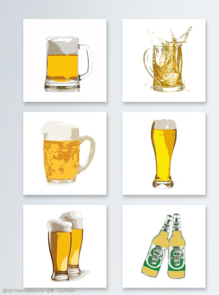 啤酒元素素材青島燕京雪花啤酒圖