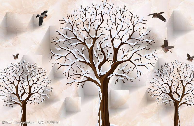 大樹雪花3D大理石電視背景墻