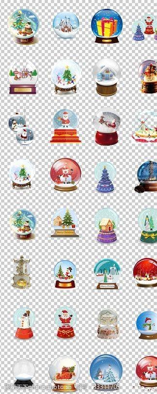 水晶球圣誕雪花水晶球手繪可愛