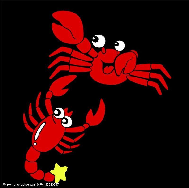 螃蟹龍蝦卡通魔蝎蝎子