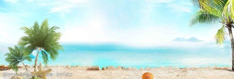 夏季海边出游文艺景色蓝天背景