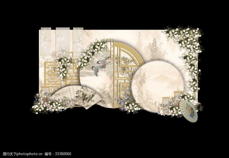 香檳色新中式婚禮留影區效果圖