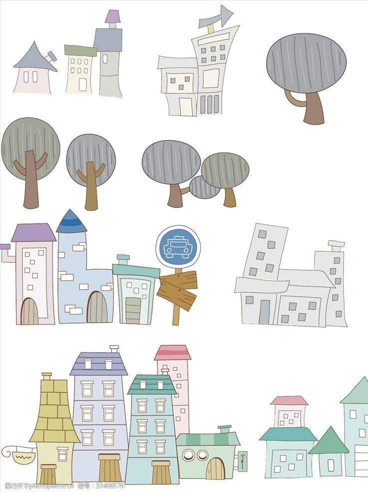一般素材系列手绘多款房子树ps分层文件