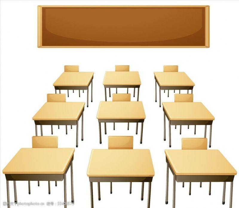 一般素材系列手绘课桌黑板ps分层素材