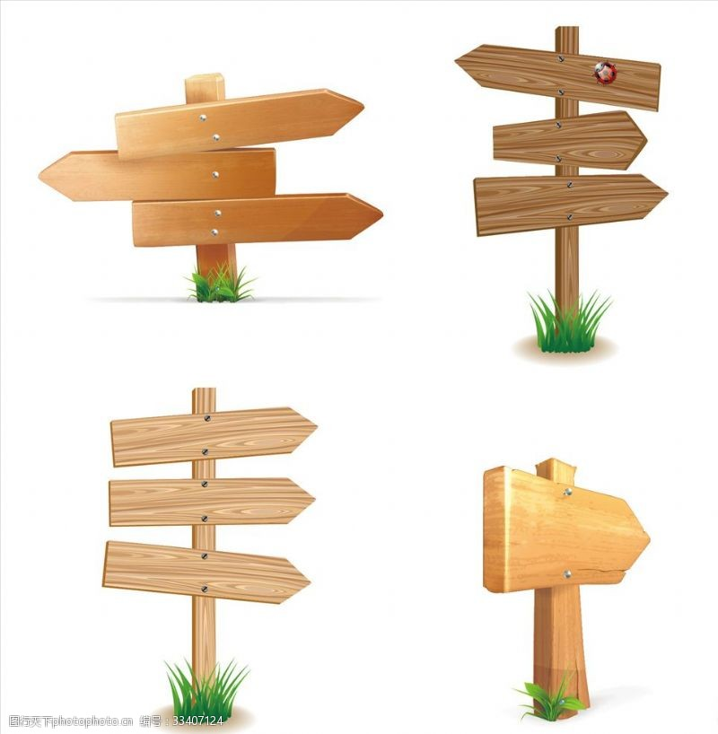 一般素材系列4款指路木牌矢量素材