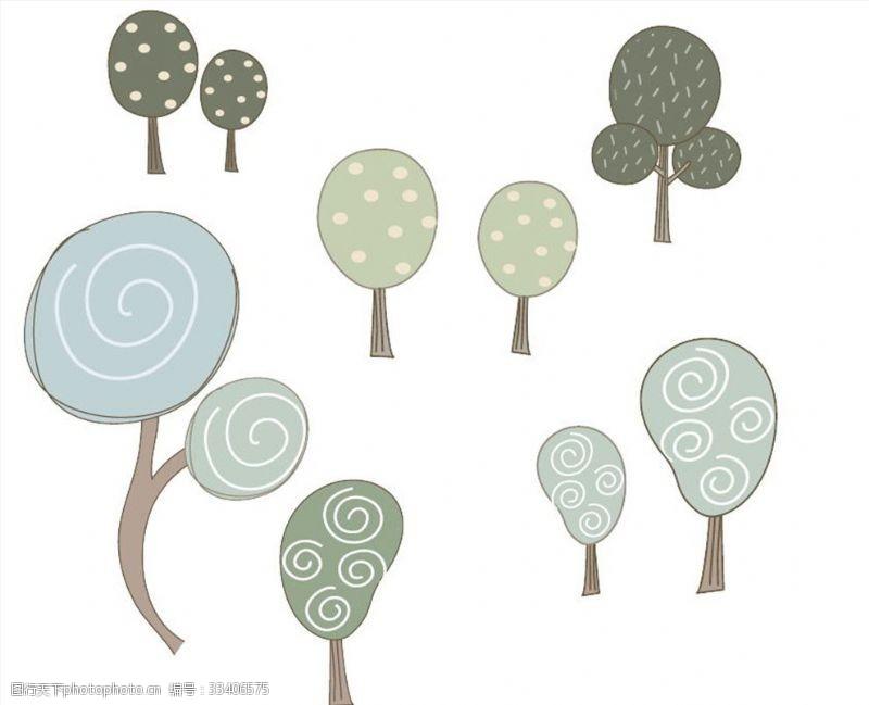 一般素材系列多款特色手绘树