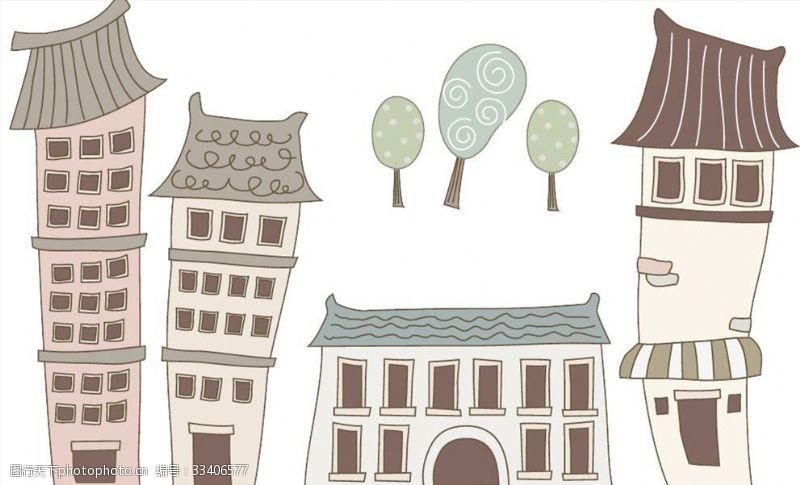 一般素材系列手绘房子树小清新素材