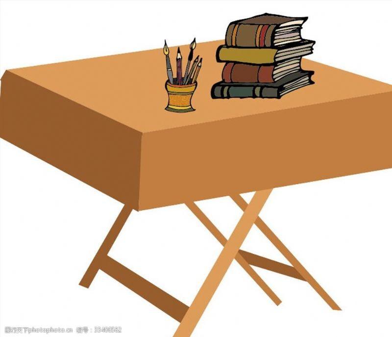 一般素材系列手绘桌子书本笔