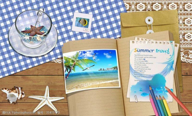 夏季沙灘辦公合成桌面