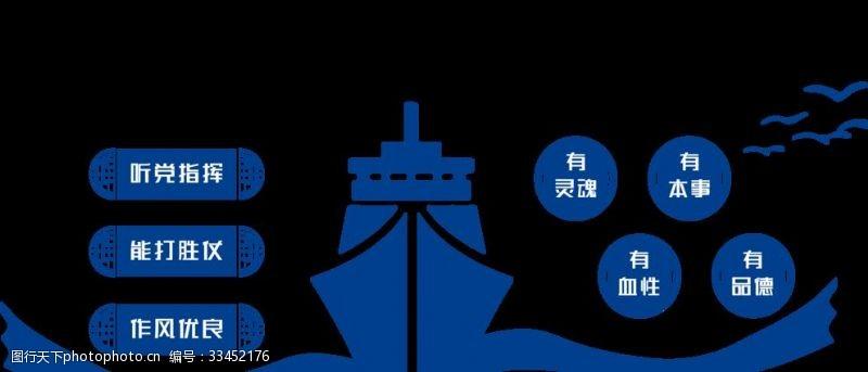 大氣建設強大海軍微立體文化墻
