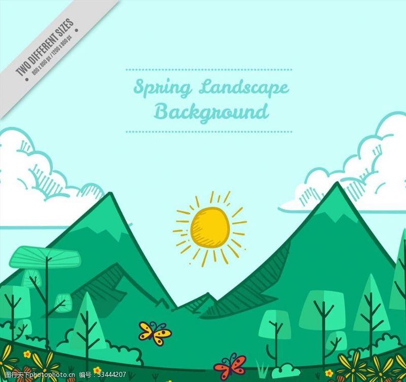 彩绘春季郊外山和树林风景