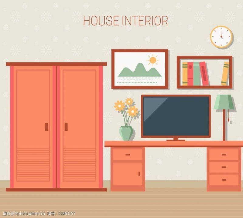 創意彩色臥室設計矢量素材