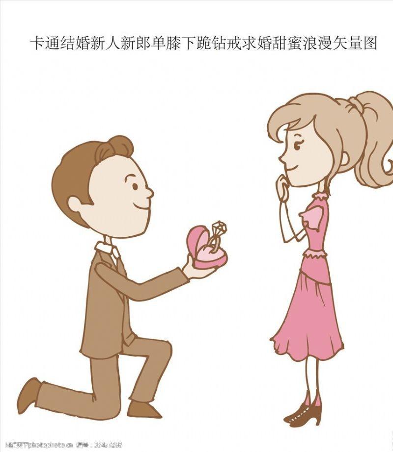 一般素材系列卡通新郎单膝下跪钻戒求婚甜蜜