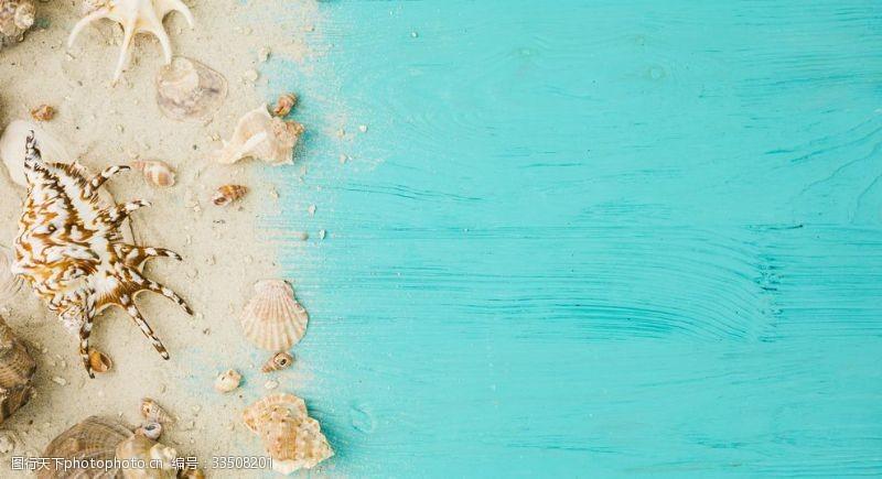 夏季沙滩海报摆拍素材