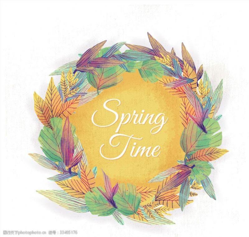 水彩绘春季树叶花环