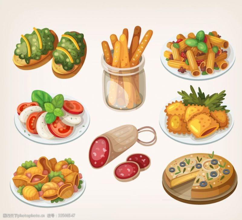 8款卡通美味食物矢量素材