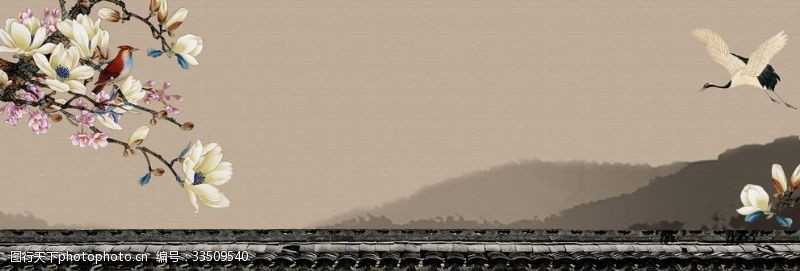 150dpi中國風山水畫背景